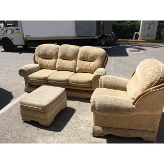 Sofa de 3 plazas, sillon y reposais